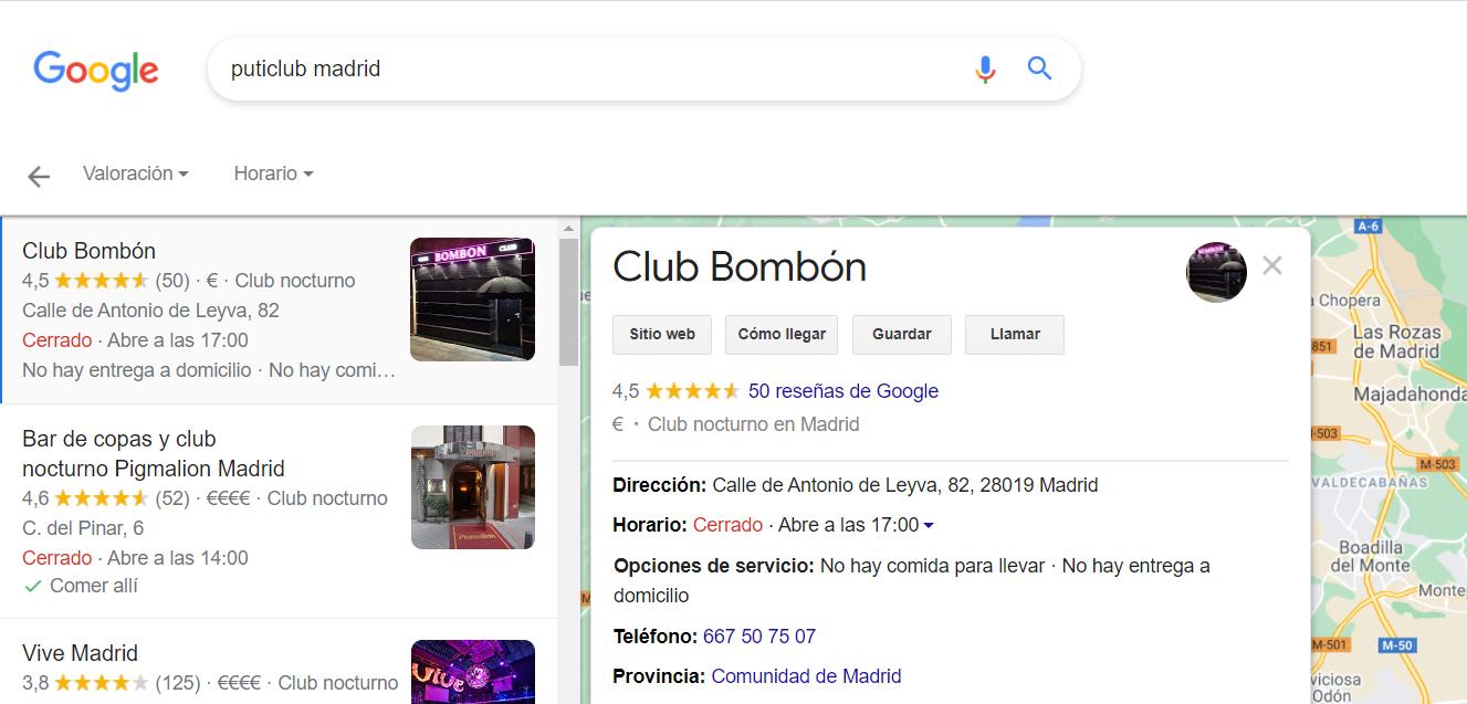 Listado empresas club de copas nocturnos