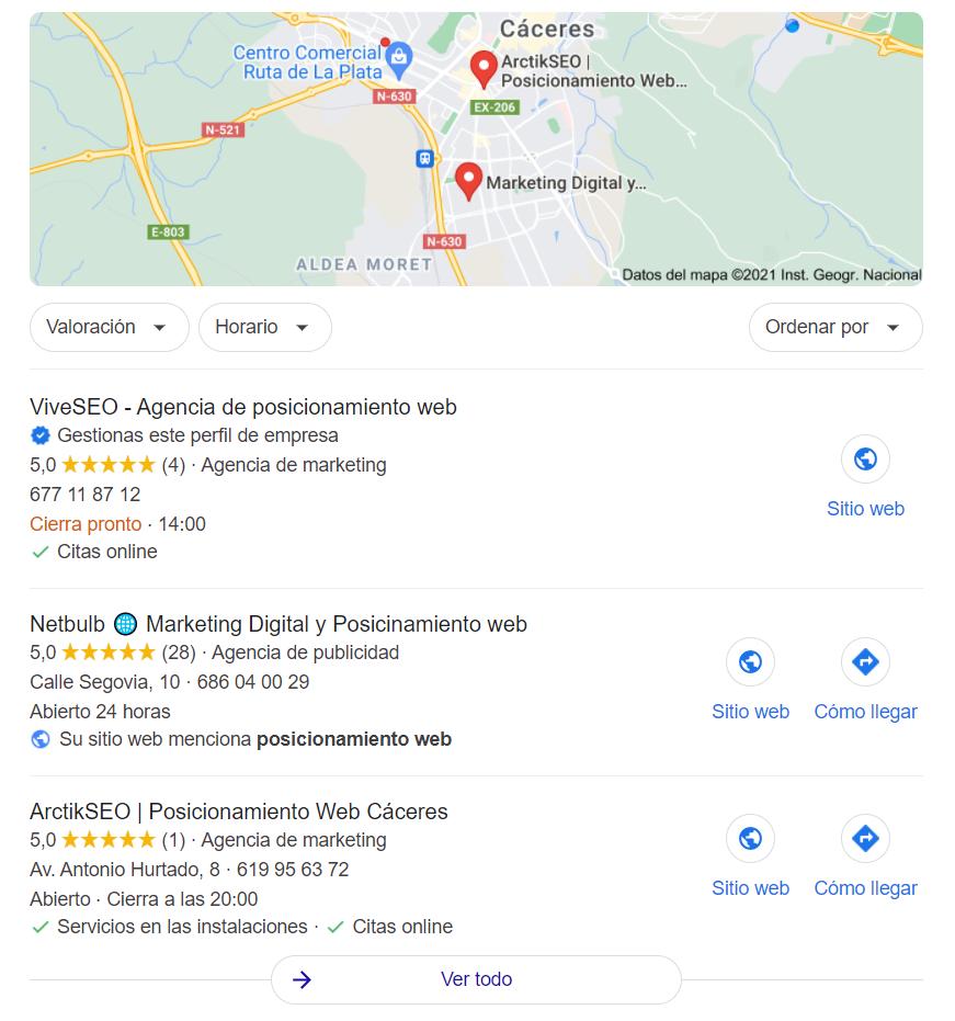Local Pack en SERP de Google